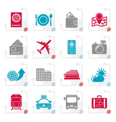 Stylized travel transportation and vacation icons vector
