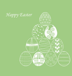 white easter egg on green background vector image