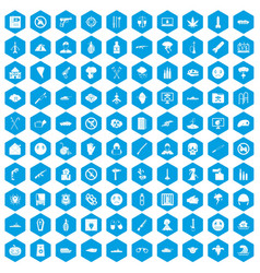 100 oppression icons set blue vector image vector image