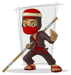 Cartoon asian ninja in red mask with stick vector