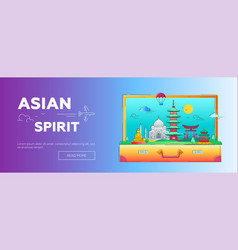 Asian spirit - line travel web page header vector