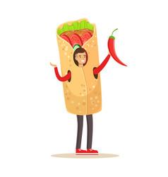 Man wearing doner kebab costume fast food snack vector