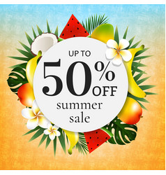 Sale poster with tropical frame vector