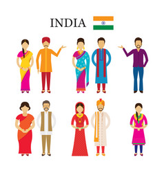 India people in traditional clothing vector