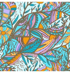 Seamless hand-drawn pattern with leaves vector