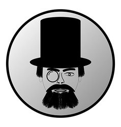 Retro man portrait button vector