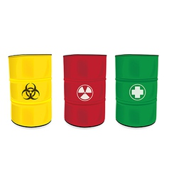 Colorfu barrel with a radioactive warning label vector