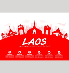 Laos travel landmarks vector