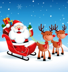 Santa claus riding a sleigh with reindeers vector