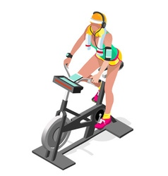 Exercise bike spinning gym class isometric 3d vector