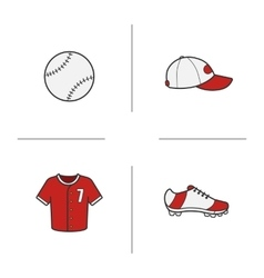 Baseball accessories icons vector