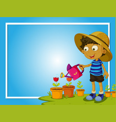 Border template with boy watering flowers vector