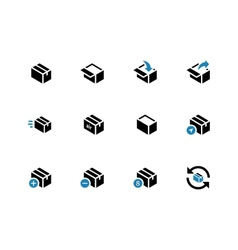 Box duotone icons on white background vector