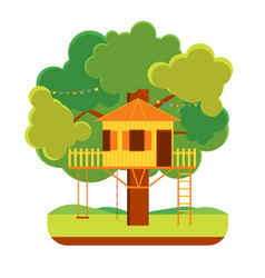cartoon tree house vector image