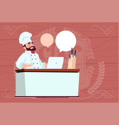Chef cook working at laptop computer cartoon vector
