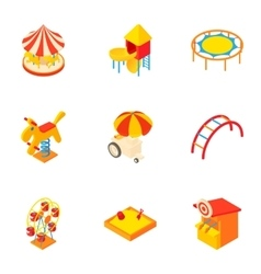 Children games icons set cartoon style vector
