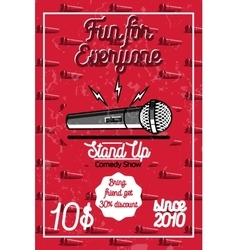 Color vintage Stand up comedy show poster vector image vector image
