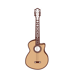 Cute brown guitar cartoon vector