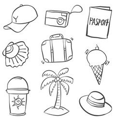 Doodle of summer object vector