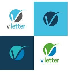 elegant v letter icon and logo vector image