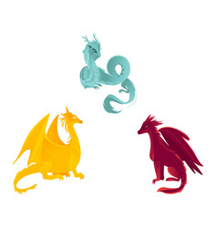 flat colored dragon with wings horns set vector image