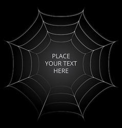 Frame of a spider web on black background vector image