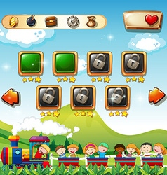 Game template with children on train vector