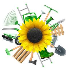 Garden Equipment with Sunflower vector image vector image