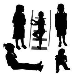 Girls and baby silhouette vector
