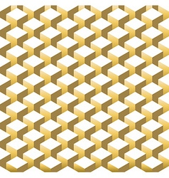 Gold isometric 3d retro cube seamless pattern vector