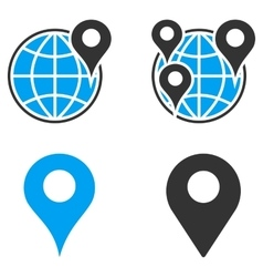Gps map markers flat bicolor icons vector