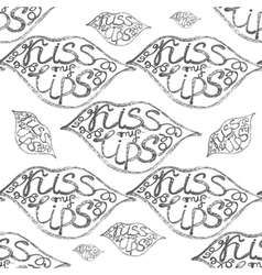 hand drawn seamless pattern with lips vector image vector image