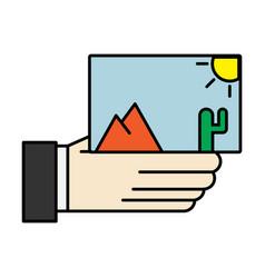 Hand holds photos icon multimedia photo album vector