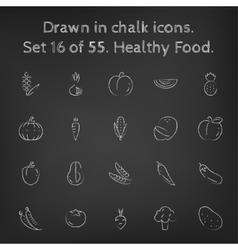 Healthy food icon set drawn in chalk vector