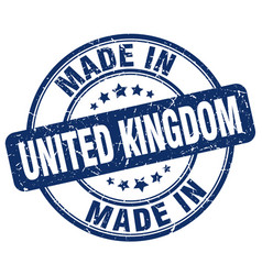 made in united kingdom blue grunge round stamp vector image vector image