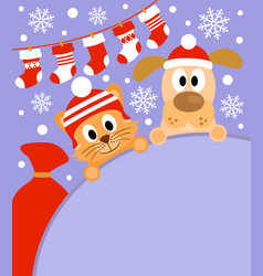 New year background card with cat and dog vector