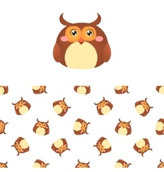 Owl head icon and pattern vector
