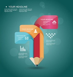 pencil Infographic timeline template with icons vector image vector image