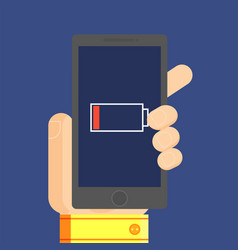 phone in the mans hand which has low battery vector image vector image