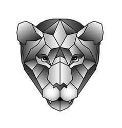 Polygonal head of tiger in vector image