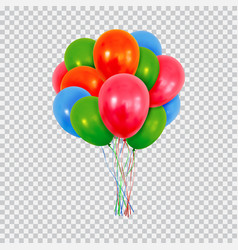 Red green and blue helium balloons set isolated on vector