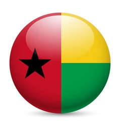 Round glossy icon of guinea-bissau vector