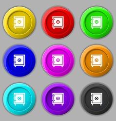 Safe money icon sign symbol on nine round vector image vector image