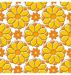 Seamless texture with yellow camomile vector