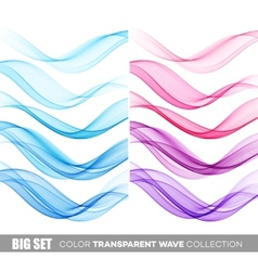 Set of color transparent smoky wave vector image vector image