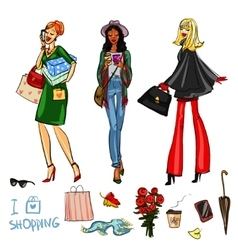 Set of pretty fashionable women vector image