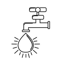 silhouette faucet with drop of water icon vector image