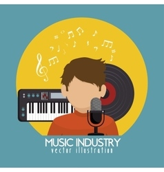 Singer with microphone and piano isolated icon vector