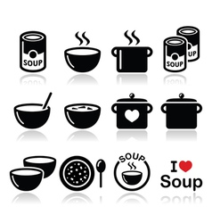 Soup in bowl can and pot - food icon set vector