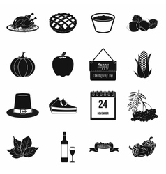Thanksgiving day black simple icons vector image